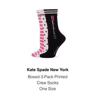 Kate spade boxed 3 pairs of socks nwt